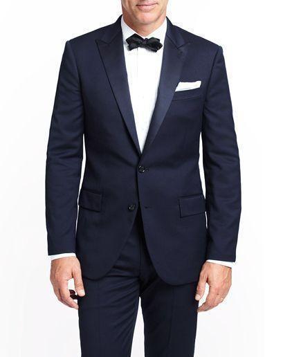Dark blue bride's slim healthy men for wedding peak lapel two two buttons out best man suit jacket + pants + tie