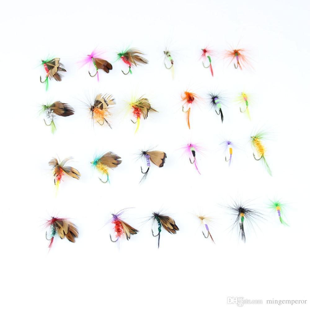 Palo de rosa señuelo de pesca con mosca seca con caja trucha artificial carpa bajo Mariposa Cebo de insectos señuelos de pesca con mosca de agua salada de agua dulce