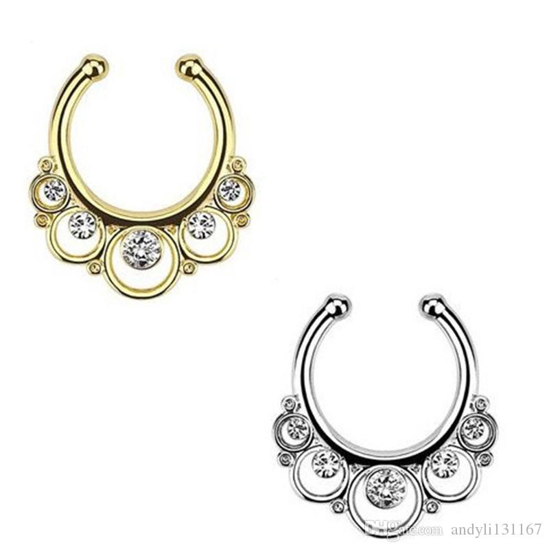Christmas punk taboo gold none piercing fake septum nose ring clip silver indian fake crystal nose stud N0009