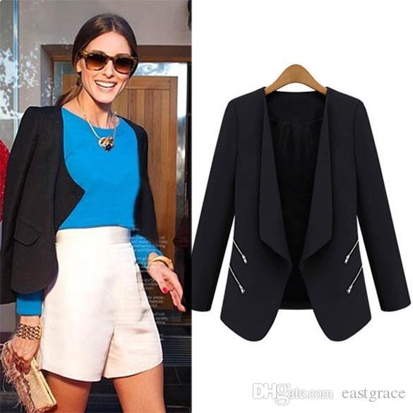 Os novos ternos das mulheres 2016 Europeu pequeno terno jaqueta bolso com zíper temperamento casacos para mulheres O terno high-end das mulheres Ternos do escritório das senhoras