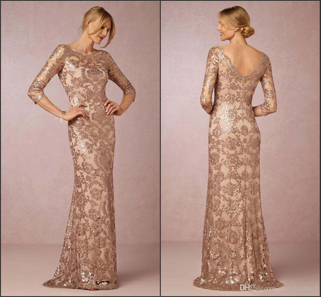 Long Sleeve Rose Gold Mother Of The Bride Dresses 2018 Bateau Neck Vintage  Lace Sweep Train Formal Evening Party Wear BA0528 Mother Of The Bride Dress  Suit ... 6ce23f8195f6
