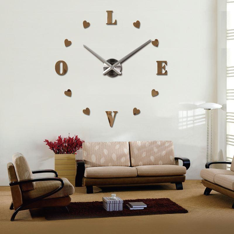 2016 wall clock quartz living room diy clocks modern design watch horloge murale acrylic mirror. Black Bedroom Furniture Sets. Home Design Ideas