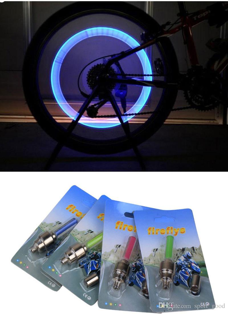 Bike lights valve core lights mountain bike valve lights bicycle accessories fluorescent rods wheel tire lamp for sale