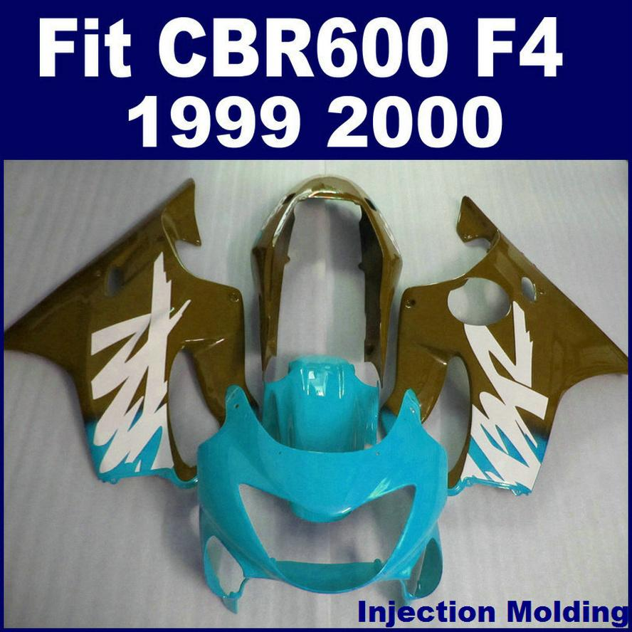 100% ABS racing Injection molding for HONDA fairing parts CBR 600 F4 1999 2000 right blue cbr600 f4 99 00 bodykit KCSD