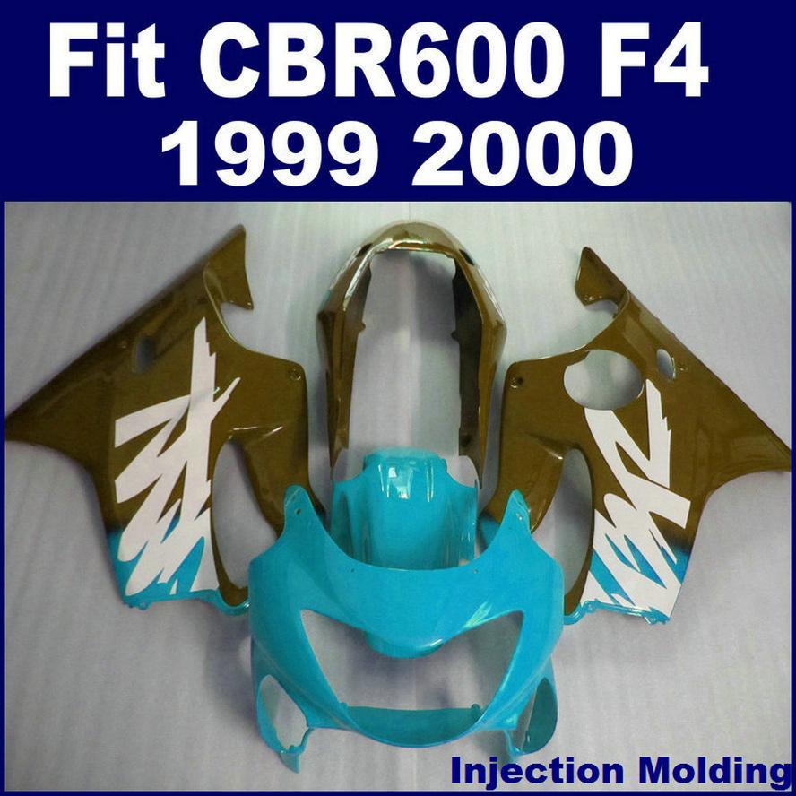 HONDA için 100% ABS yarış Enjeksiyon kalıplama parçaları CBR 600 F4 1999 2000 sağ mavi cbr600 f4 99 00 bodykit KCSD