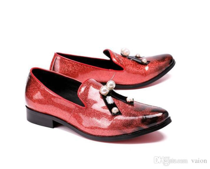 New Luxury High quality pointed Red pearl bowtie leather shoes Wedding Flats Dress Homecoming Prom Formal shoes plus size 45-46