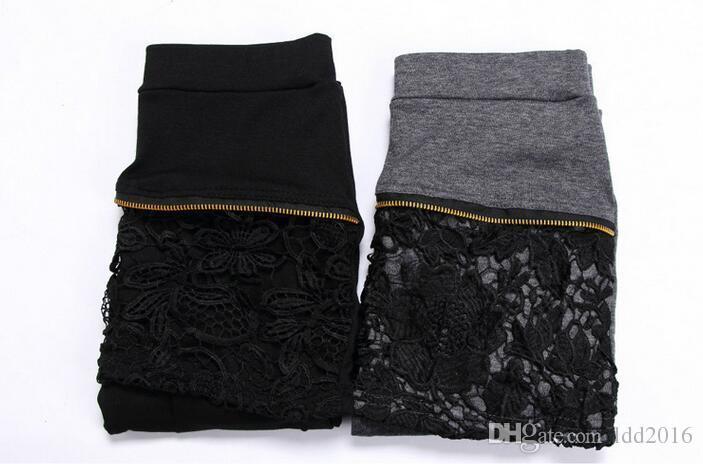 2016 new fashion slim larger elastic waist cheap soft women black grey nine false two piece patchwork mini lace skirt leggings pants