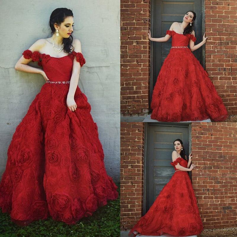 Princess Ball Gown Wedding Dresses Off Shoulder 3D-Floral Applique Ball Gown Red Sweep Train Beaded Sash 2015 Wedding Dresses Custom Made