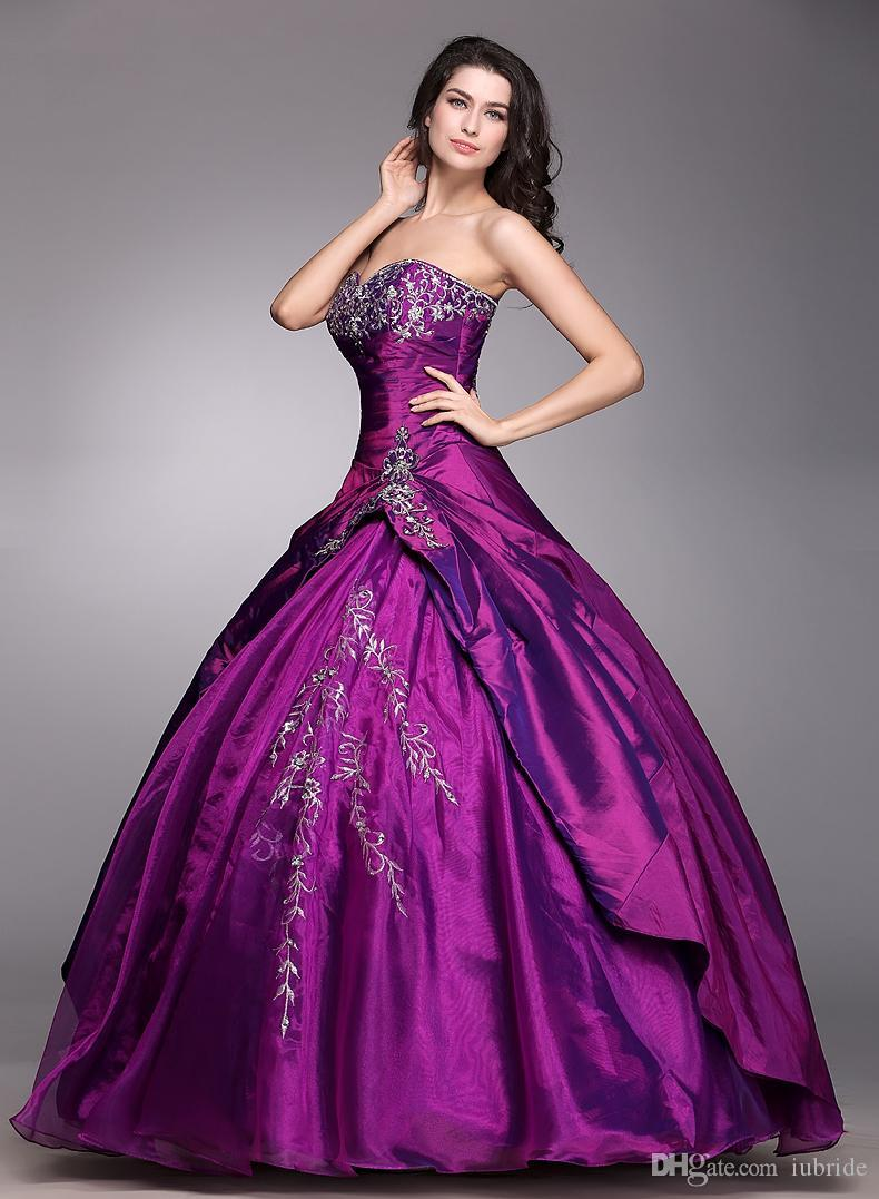 2016 Cheap In Stock Prom Dresses New Red Purple Fashion Strapless ...