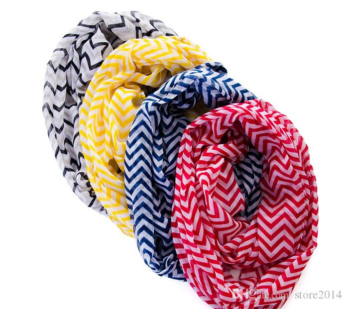 NEW fashion Chevron Wave Print Scarf Circle Loop Cowl Infinity Scarves Ladies Scarves Voile Multi color printing woven scarf