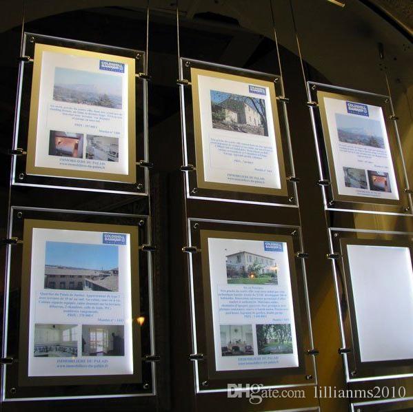 12 ADET Led Dükkanı Pencere Kablo Tel Ekran Tek Taraflı Akrilik Çerçeve Emlakçı için Led Işıklı A3 Işaretleri