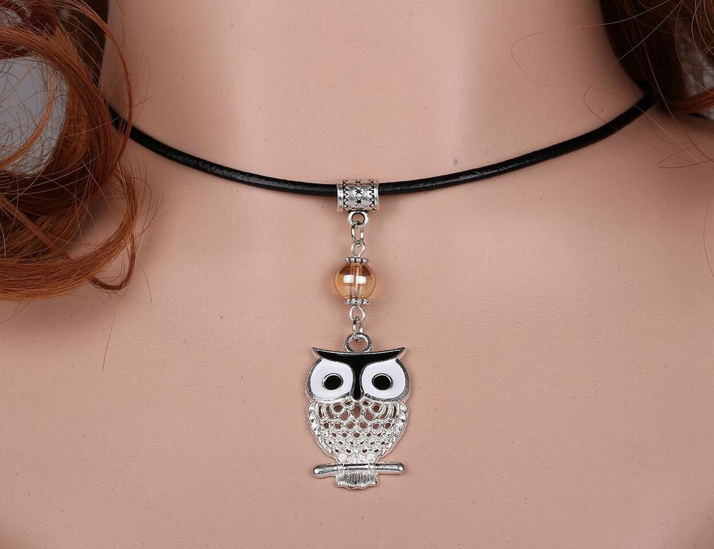 Brand Collar Statement Choker Vintage Silver Enamel Black Owl Charms Genuine Leather Necklaces Pendant For Women Dress DIY Jewelry A09