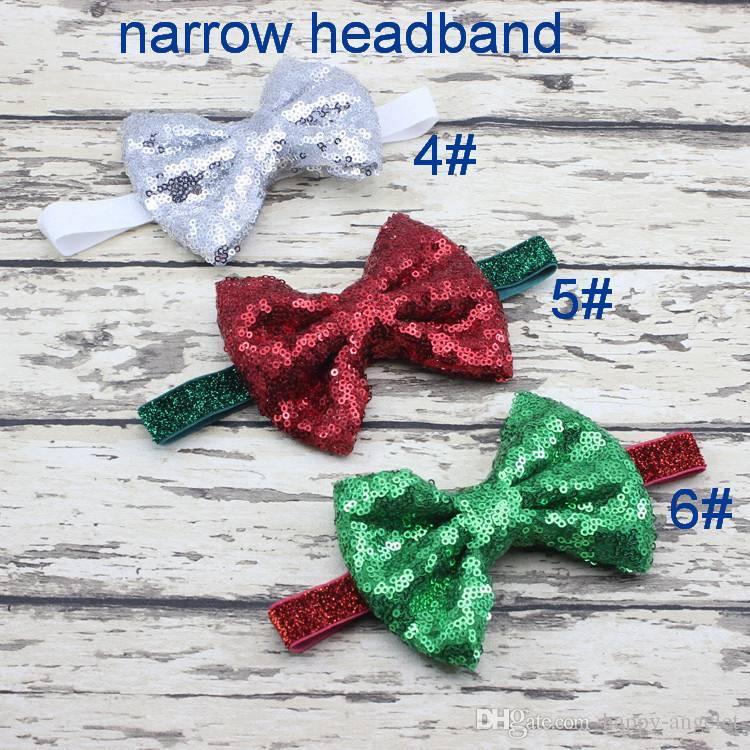 Girl baby Xmas hair accessory Sequins bowknot Head wrap Headwrap Elastic head band Turban Twist Hairband Vintage Newborn hair band FD6566
