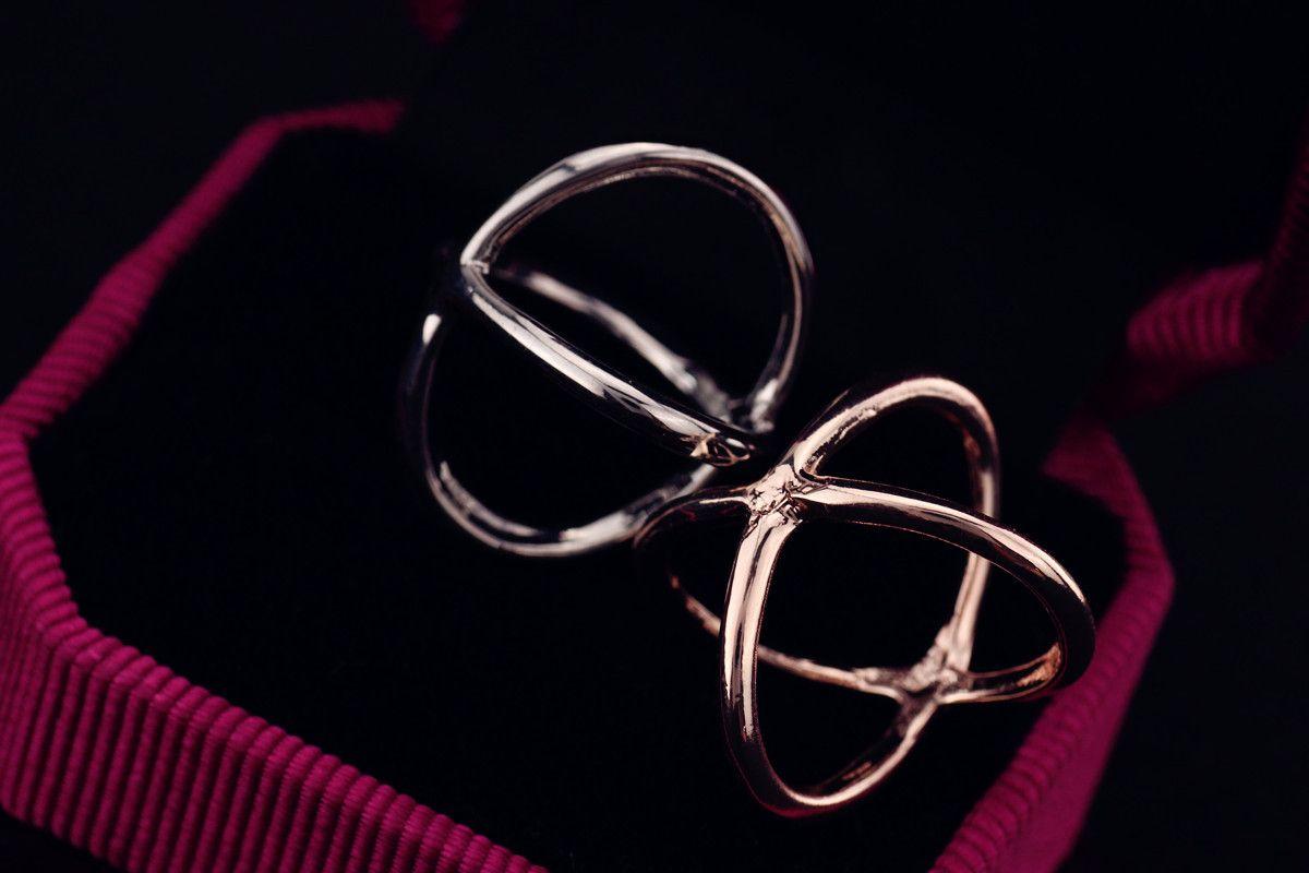 Anello in oro e argento, forma a croce, nobile e delicato donna, spedizione gratuita e alta qualità