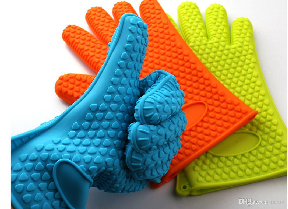 Silicone BBQ Gloves Insulated Kitchen Tool Heat Resistant Glove Oven Pot Holder BBQ Baking Cooking Mitts Five Fingers Anti Slip Dots 148g/pc