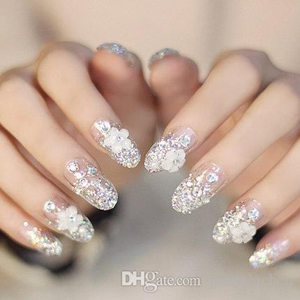 Clear gorgeous elegant round head fake nails nail art kits glitter manicure tool finished product 15 nail art step by step water nail art from patriciachen