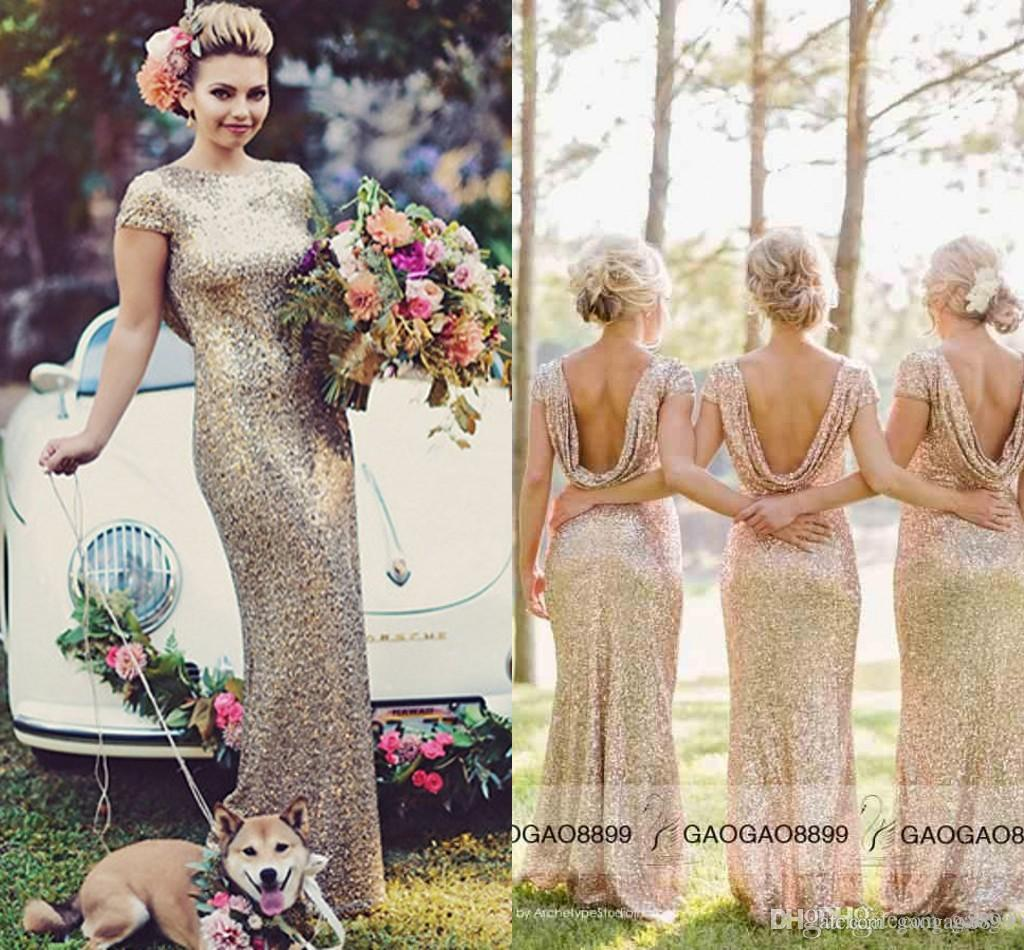 Sequins rose gold long bridesmaid dresses plus size short sleeve sequins rose gold long bridesmaid dresses plus size short sleeve champagne sparkly maid of honor bridal wedding guest party gowns 2015 cheap cocktail ombrellifo Choice Image