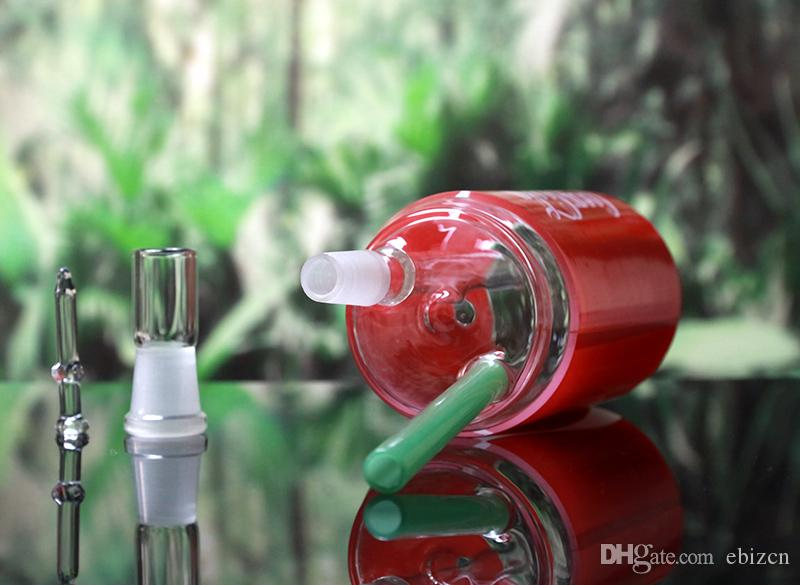 8 inch Red Drink Bottle Staw Glass Water Pipe Oil Rig Bongs with Glass Dome Nail 14.4mm Joint Size