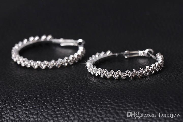 أقراط هوب للنساء الأزياء والمجوهرات القرط الماس الزفاف / المشاركة جولة إسقاط أقراط معلقة 925 فضة هوب أقراط كبيرة