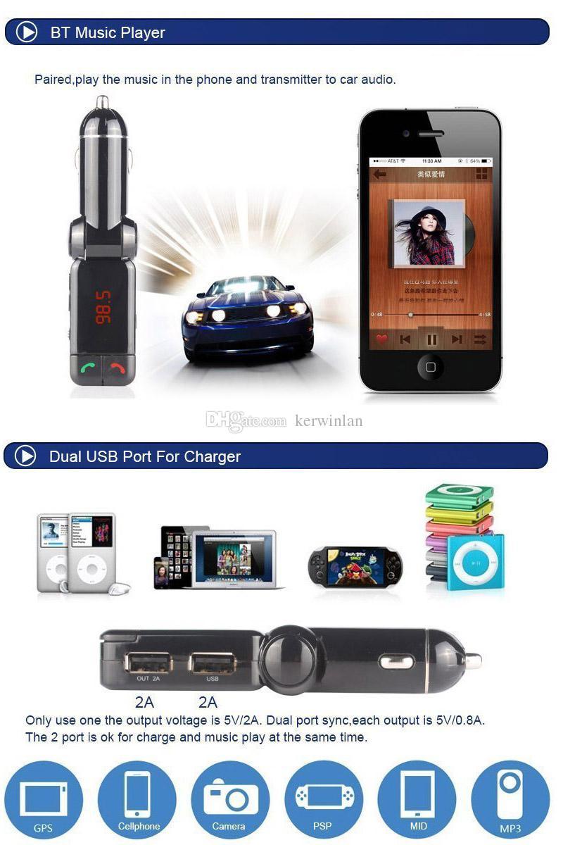 Bluetooth Car Kit BC06 Vivavoce auto senza fili BT Vivavoce auto USB doppio da 3,5 mm Trasmettitore FM AUX-IN Samsung iPhone Mobile