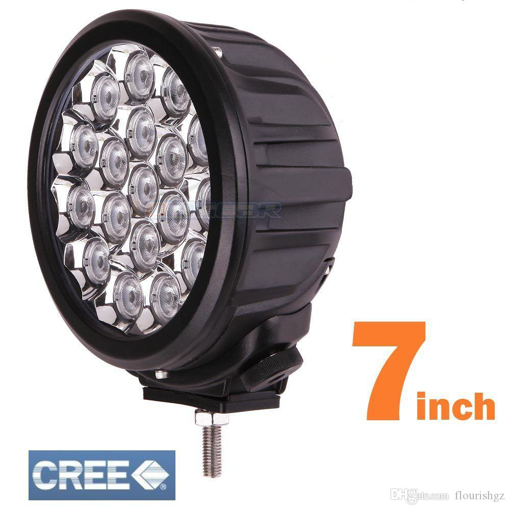 """7"""" 90W CREE 18LED*5W Driving Work Light Round Offroad SUV ATV 4WD 4x4 Spot / Flood Beam 8100lm 9-32V IP67 Heavy Duty Llamp Replace HID"""