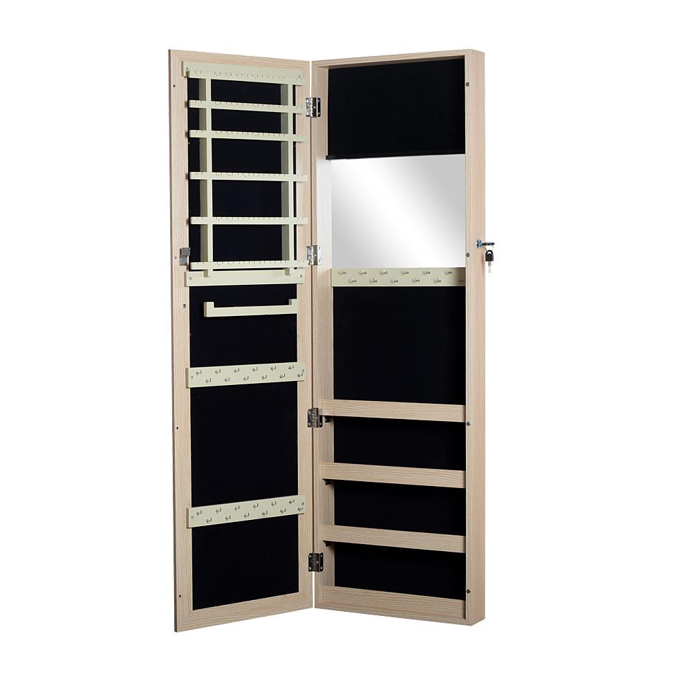 Wooden Jewelry Armoire Cabinet Organizer with Mirror Locking Wall