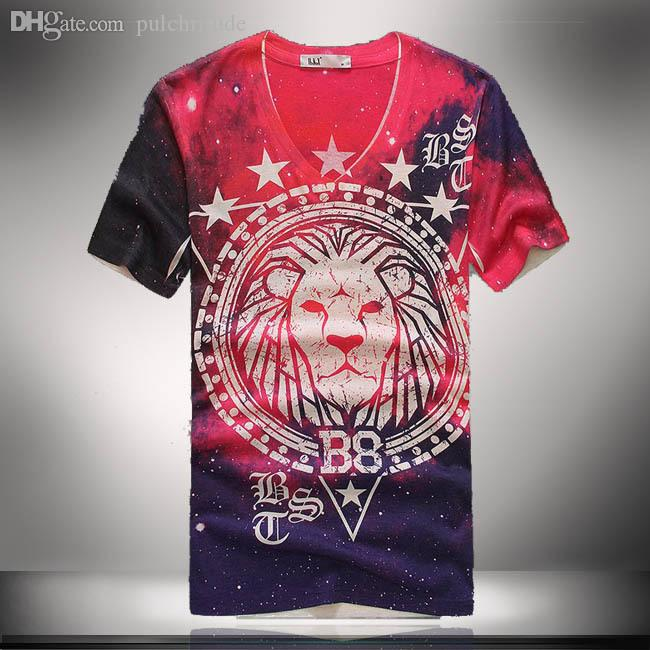 Wholesale Summer Floral Cool T Shirt Men Cotton Tees Lion Print ...