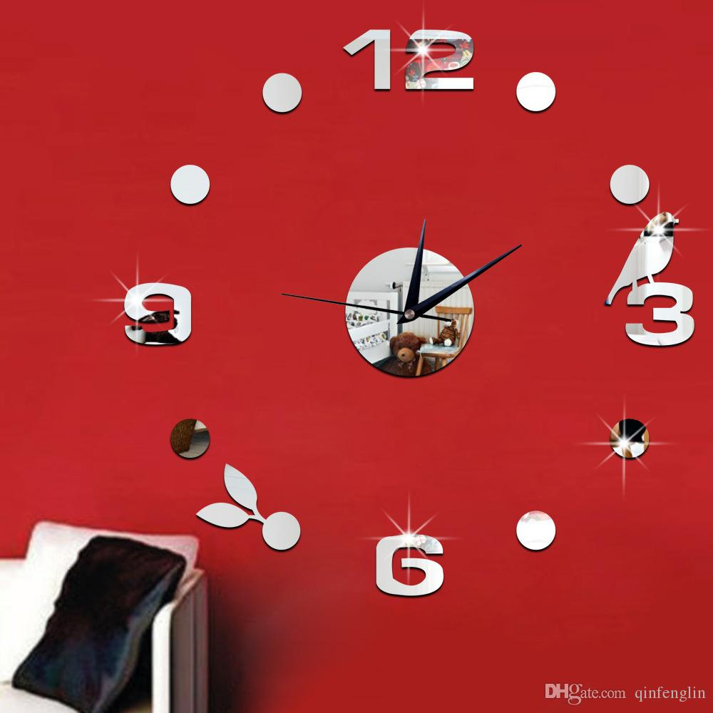 Watches and clocks wall clock creative wall stickers mirror watches and clocks wall clock creative wall stickers mirror stickers 3d stereo digital clock bird leaves wc amipublicfo Gallery