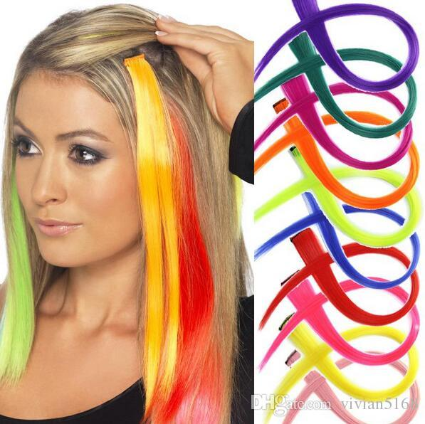 20 Synthetic Hairpiece Long Hair Color Straight One Piece Clip In Colored  Hair Extensions For Women Cheerleading Squads Fans Cosplay Hair Black And  White ... 057b56b523