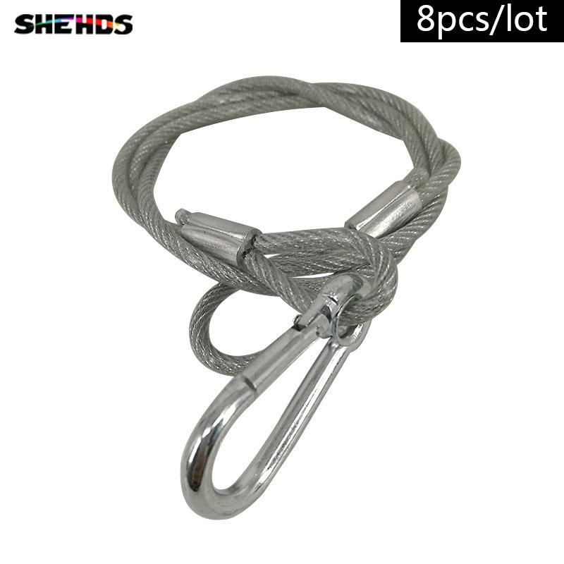 8pcs/lot 80cm Stainless Steel Rope Load bearing 20kg XR33 Safety Ropes Security Cables for LED Par Moving Head Lighting accessorie
