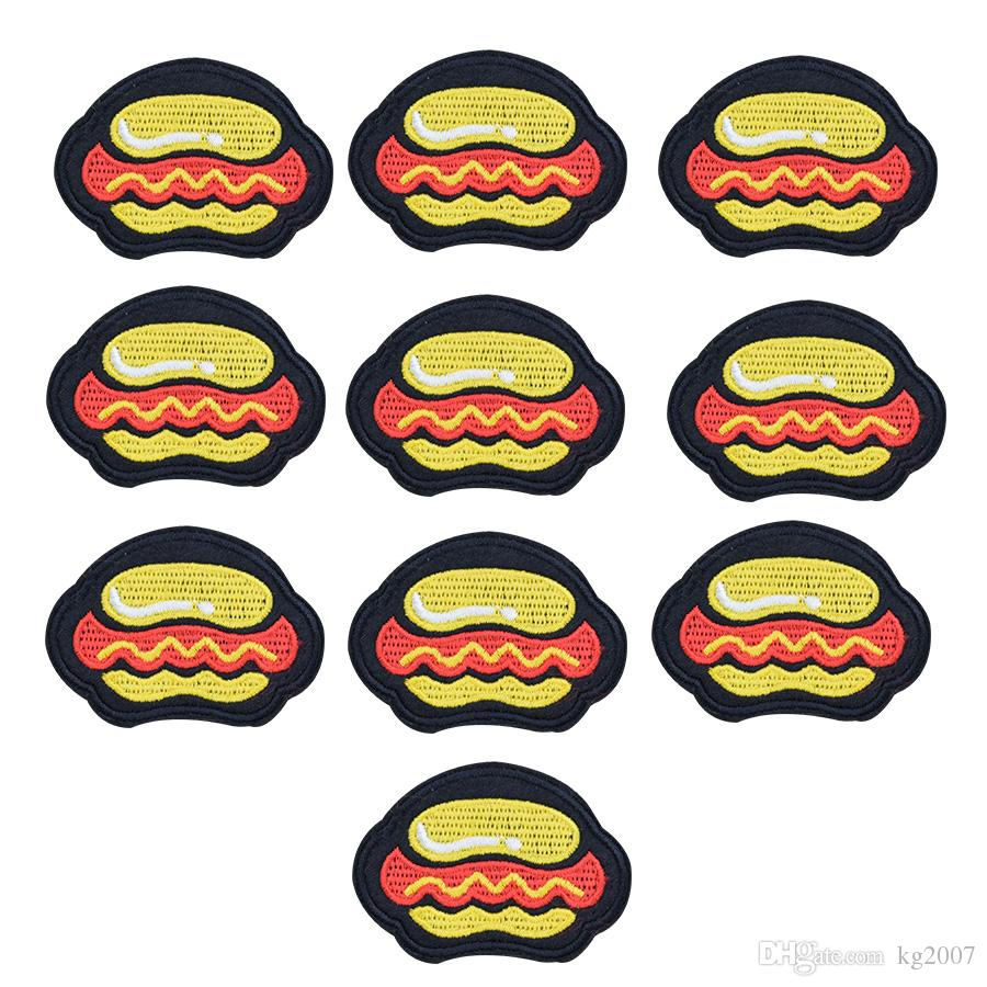 Hot Dog Patches for Clothing Bags Iron on Transfer Applique Snack Patch for Garment DIY Sew on Embroidery Badge