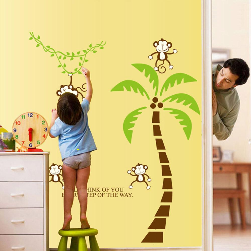 Cute Lovely Five Monkeys Tree Diy Wall Sticke Stickers Wallpaper Art ...