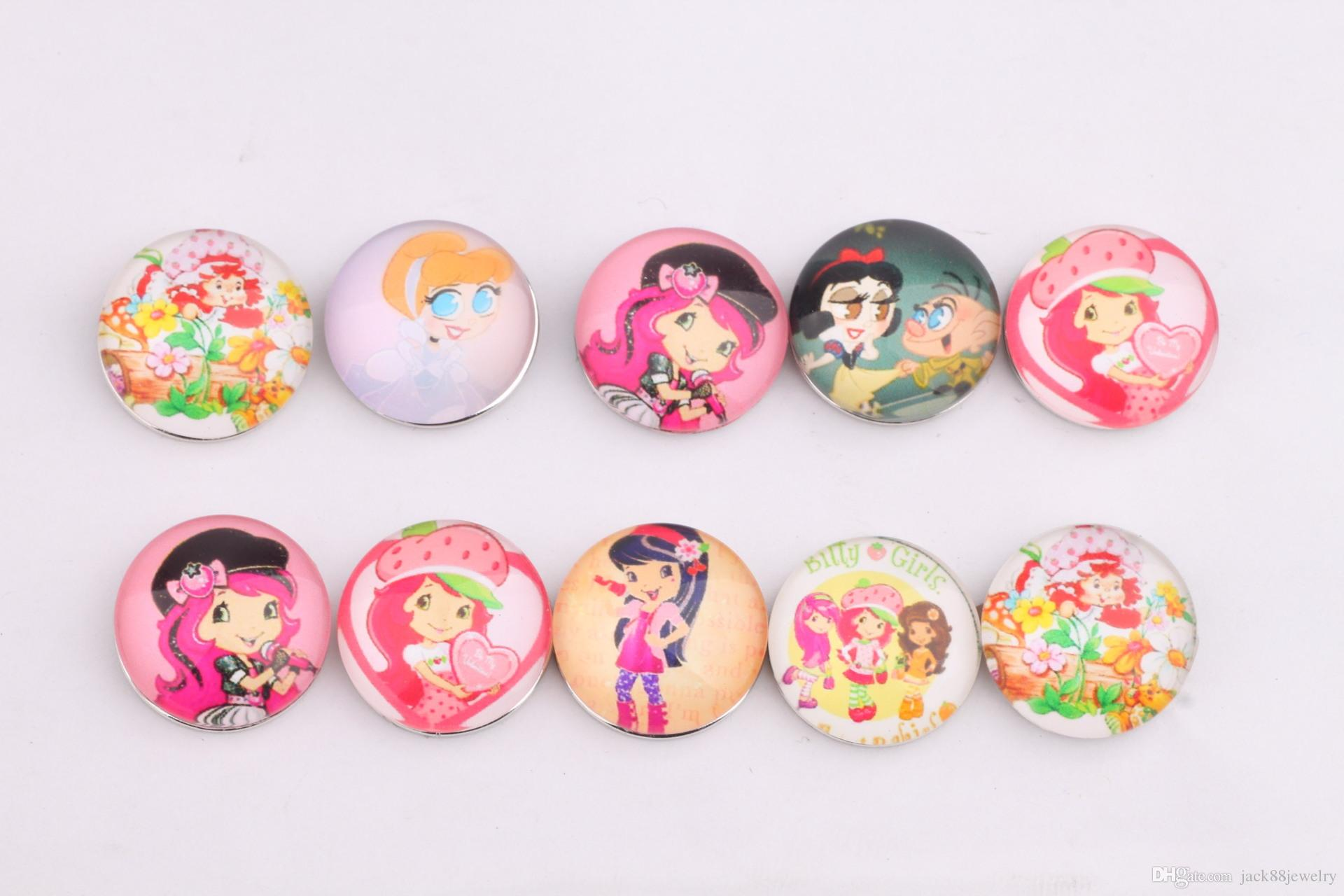 JACK88 Hot Sale Mix Styles 18mm Snaps Button Beauty Girl Glass Ginger Snap Button Fit Charm Bracelet Jewelry M585