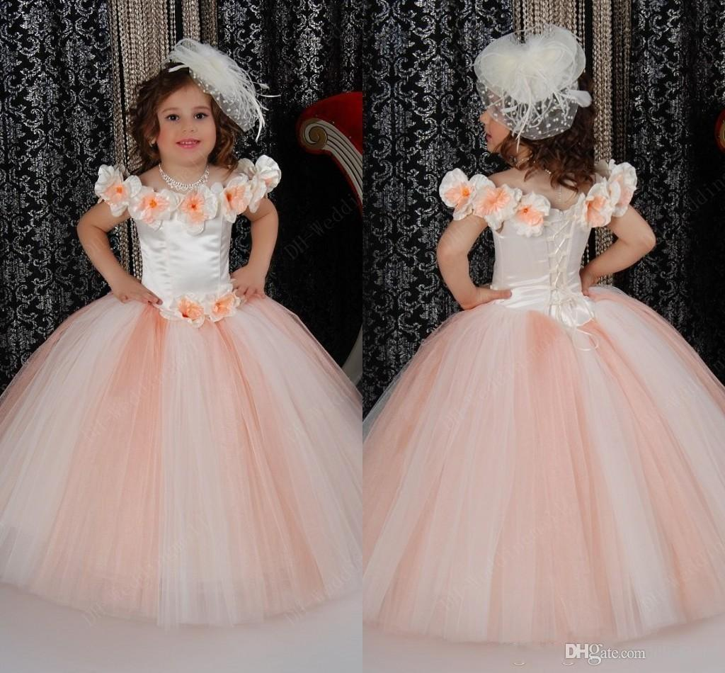 Cinderella Flower Girl Dresses 2015 Bateau Handmade Flowers Ball ...
