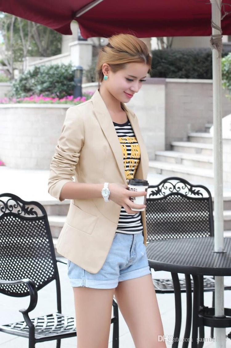 Blazer Feminino Fashion Women Suit Blazer Turn Back Cuff Jacket ...