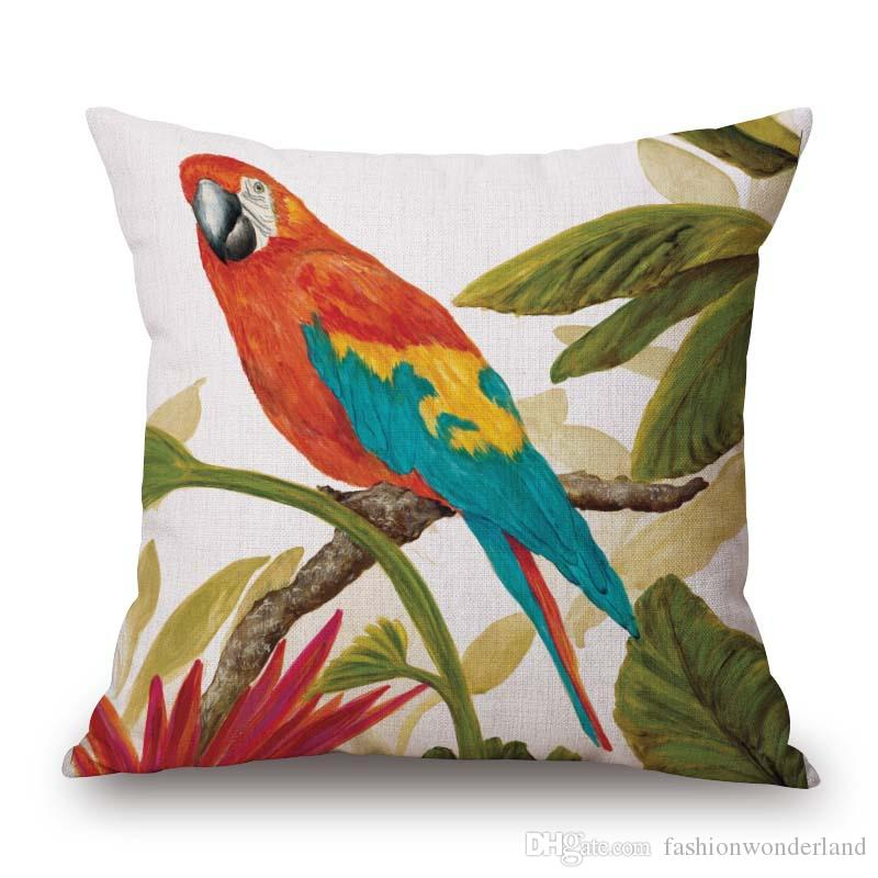Parrot Birds Flower Cushion Covers Cherry Tree Butterfly Oil painting Pillow Cover Linen Cotton Pillow Case Bedroom Sofa Decoration Gift