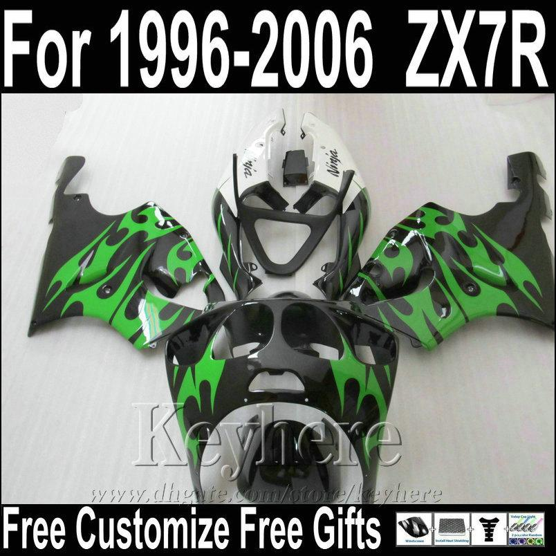 Hot sale motorcycle fairings for Kawasaki ZX7R West green black fairing kit 1996-2003 ZX7 Ninja ZX750 96-03 MNA62