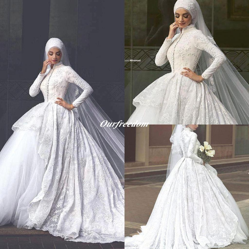 2016 Lace Robe De Mariage Islamic Wedding Dresses High Neck Exquisite Appliques Sweep Train For Muslim Bridal Gown Custom Made Hot Sale