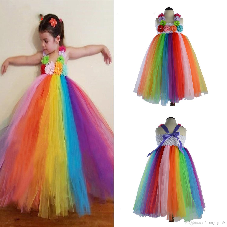 Großhandel Mädchen Regenbogen Kleider Spitze Tüll Prinzessin Kleid ...