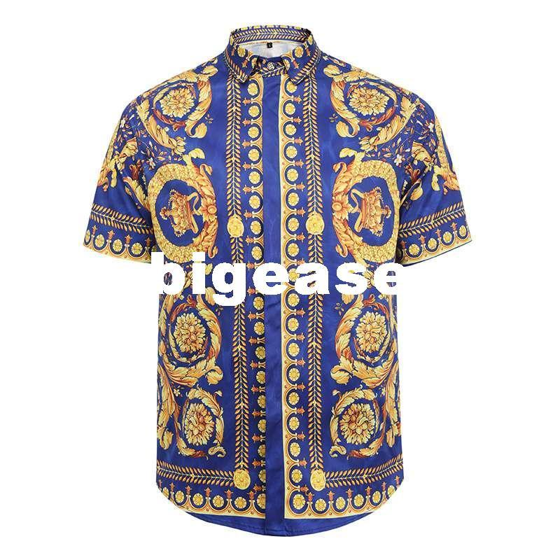 2018 Wholesale 2017 Fashion Men'S Shirts Casual Luxury Crown Printed Shirt  Summer New Short Sleeve Baroque Flowers Chemise Homme Us Size M 3xl From  Bigease, ...