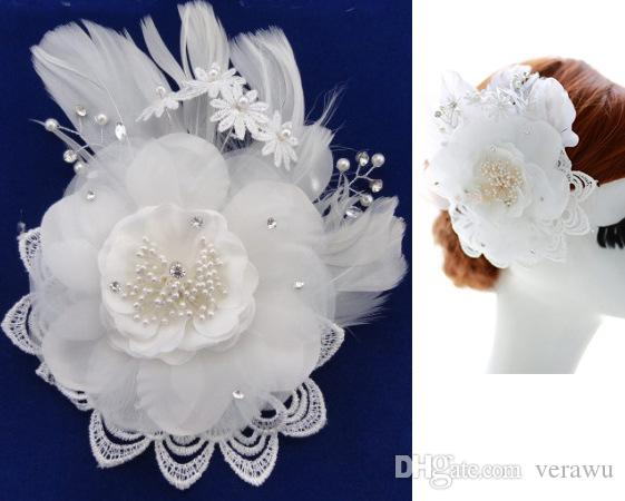 Newest Hand Made White Silk Lace Flowers With Feather Beaded Hair Flowers Pretty Bridal Hair Accessories With Clip Wedding Party Fascinator