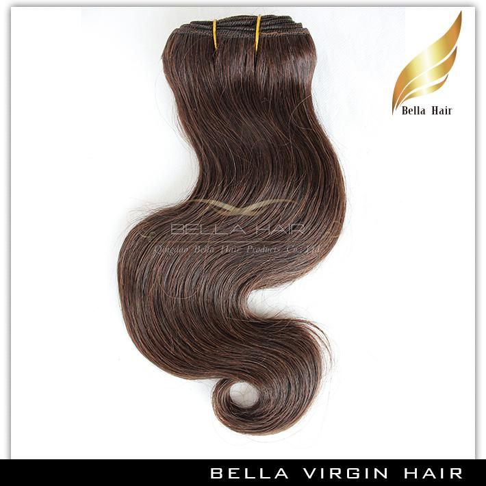 Klasa 8a Brazylijski Ciało Wave Kolorowe Ludzkie Włosy Wątek Brown # 4 Faliste Ludzkie Włosy Uwagi Darmowa Wysyłka Bella Hair Extensions