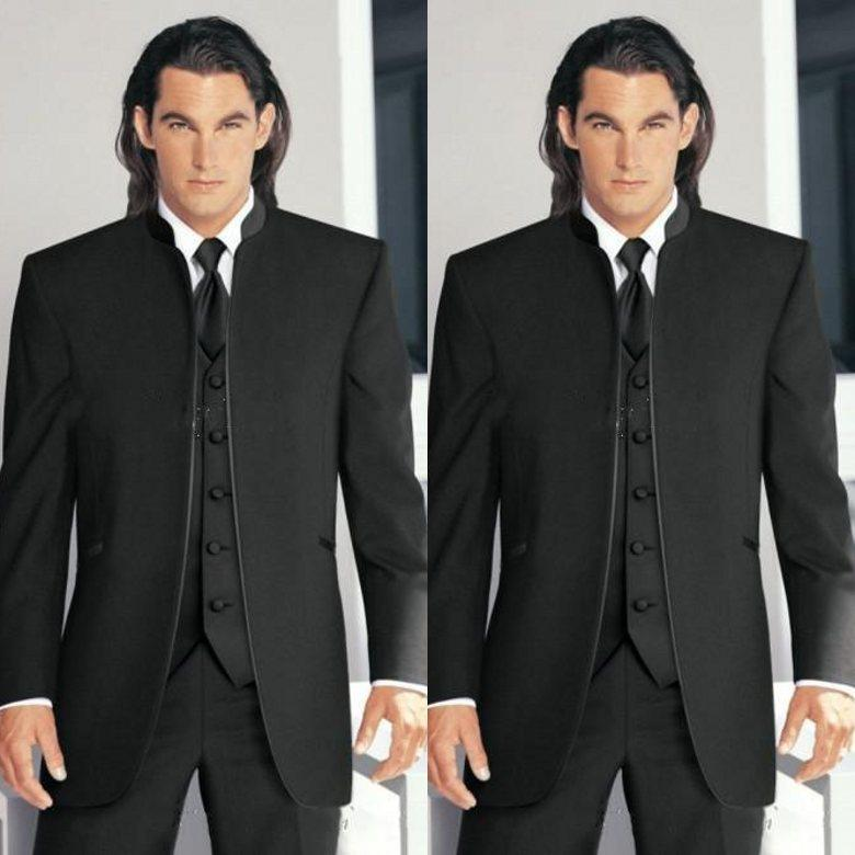 Best 2015 Classic Vintage Top Black Groom Tuxedos Stand Collar ...