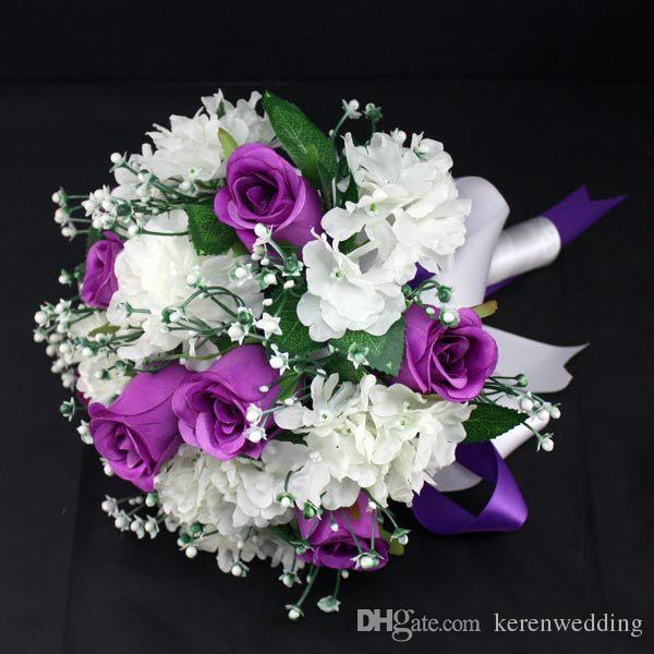 Purple White Diy Handmade Princess Bridal Bouquets Artificial Flowers With Ribbon Forever Love For Bride Groom Cheap 2015 New Flower Centerpieces