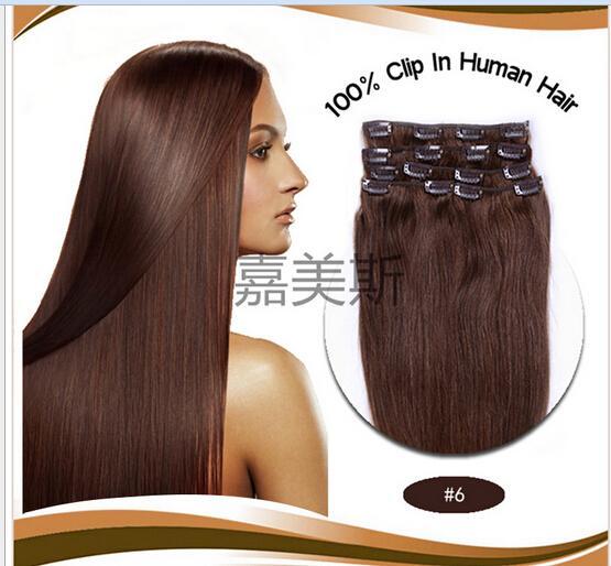 2016 novo Em Linha Reta 100% grampo em extensões de cabelo cabelo humano grampo de cabelo 7 pçs / set 70g 18 polegada 46 cm # 6 clipe de cabelo extensões de cabelo Clipe no cabelo