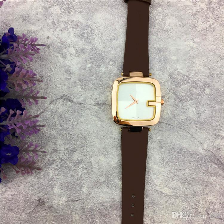 New Popular Casual Square Dial Face Women watch Black/Brown/Red Leather Wristwatch Lady watches famous brand Dress watch