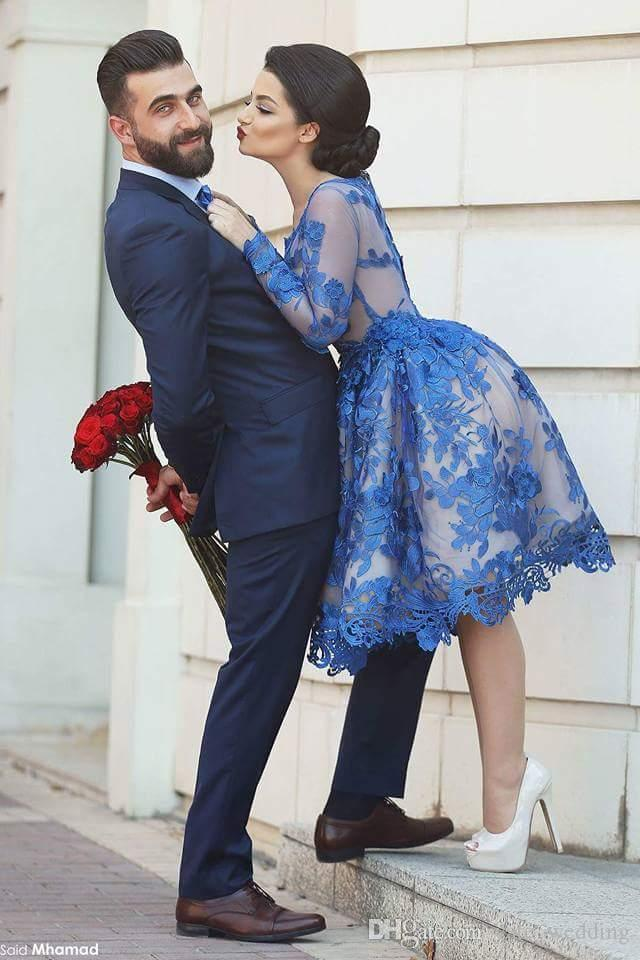 Knee Length Long Sleeves Prom Dresses Saudi Arabic Royal Blue Lace Short Party Dresses Custom Made Plus Size Evening Gowns