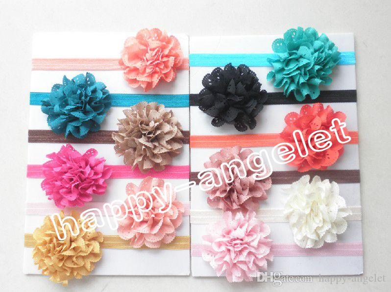 """hair accessories for girls 3"""" wave Mesh Fabric flower bows baby headband flower on stretchy hair band african gele SG8514"""