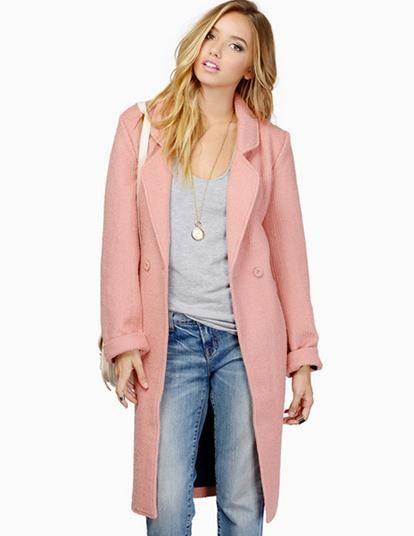 2018 Women Boyfriend Coat Oversized Blazer Jackets Pink Long Thick ...