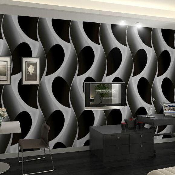 Abstract 3d Geometric Wallpaper Pvc Grey Black Modern